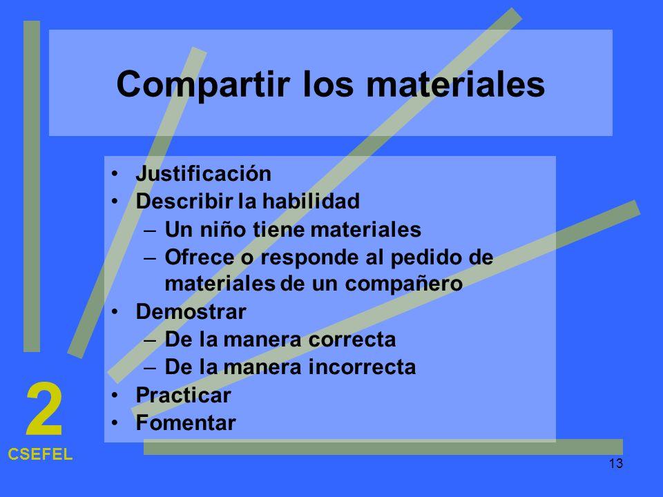 13 Compartir los materiales Justificación Describir la habilidad –Un niño tiene materiales –Ofrece o responde al pedido de materiales de un compañero