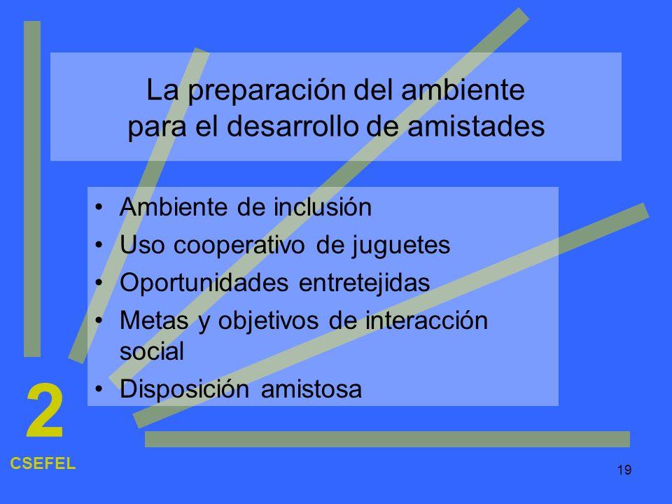 19 La preparación del ambiente para el desarrollo de amistades Ambiente de inclusión Uso cooperativo de juguetes Oportunidades entretejidas Metas y ob