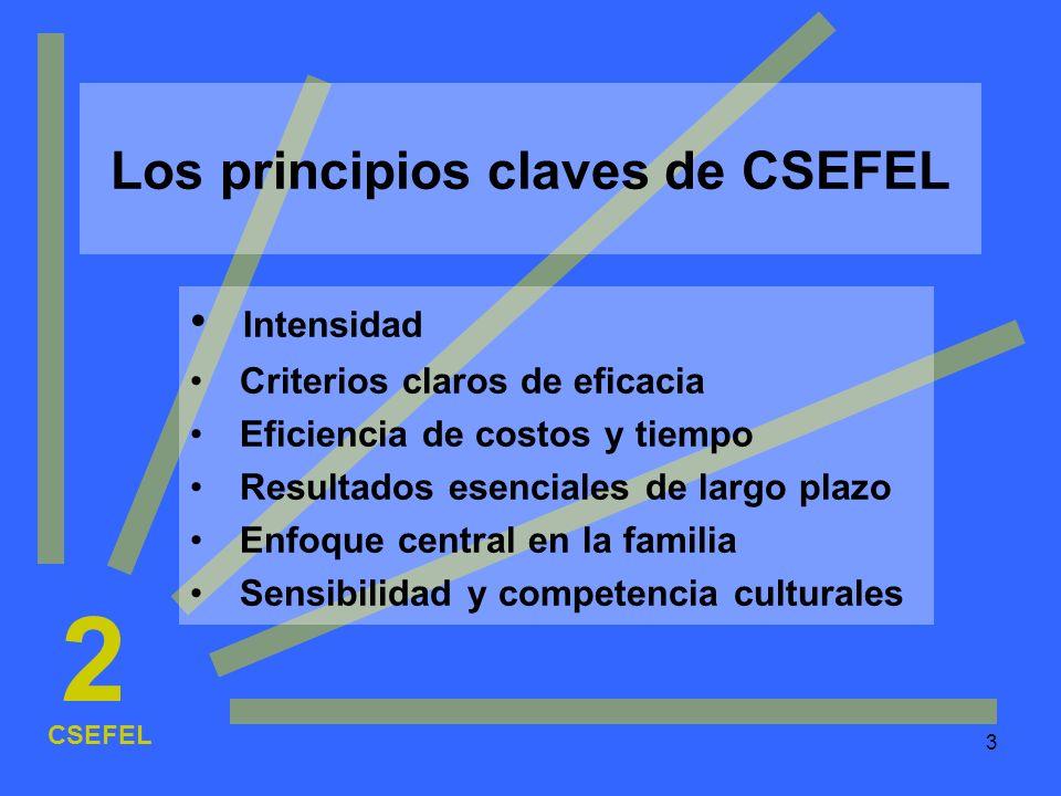 3 Los principios claves de CSEFEL Intensidad Criterios claros de eficacia Eficiencia de costos y tiempo Resultados esenciales de largo plazo Enfoque c