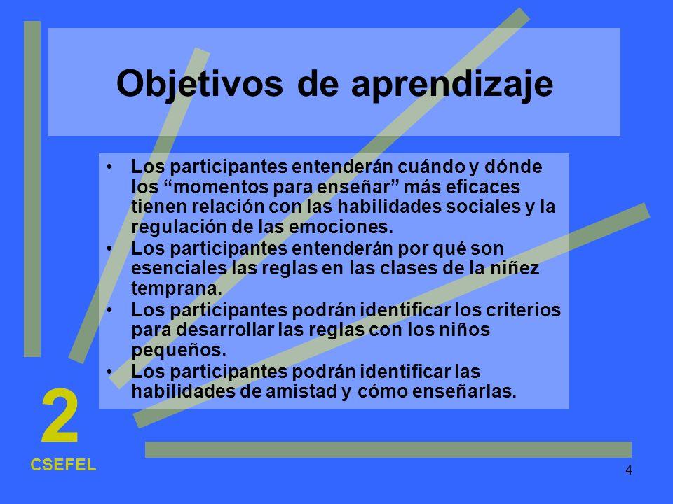4 Objetivos de aprendizaje Los participantes entenderán cuándo y dónde los momentos para enseñar más eficaces tienen relación con las habilidades soci