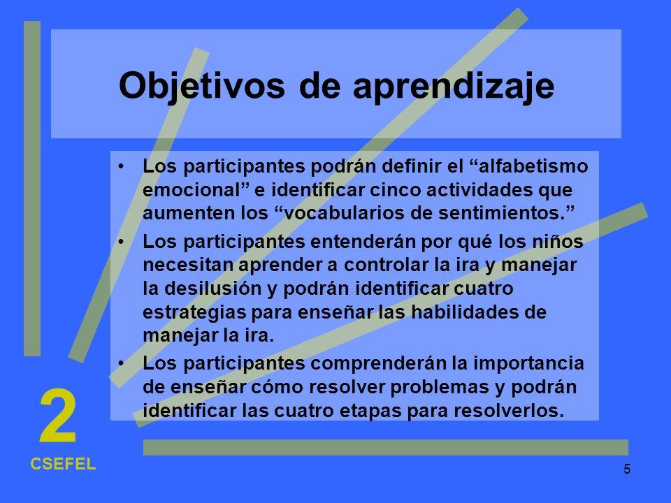 5 Objetivos de aprendizaje Los participantes podrán definir el alfabetismo emocional e identificar cinco actividades que aumenten los vocabularios de