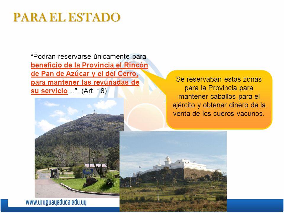 PARA EL ESTADO Podrán reservarse únicamente para beneficio de la Provincia el Rincón de Pan de Azúcar y el del Cerro, para mantener las reyunadas de su servicio….