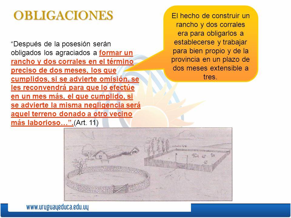 OBLIGACIONES Después de la posesión serán obligados los agraciados a formar un rancho y dos corrales en el término preciso de dos meses, los que cumpl