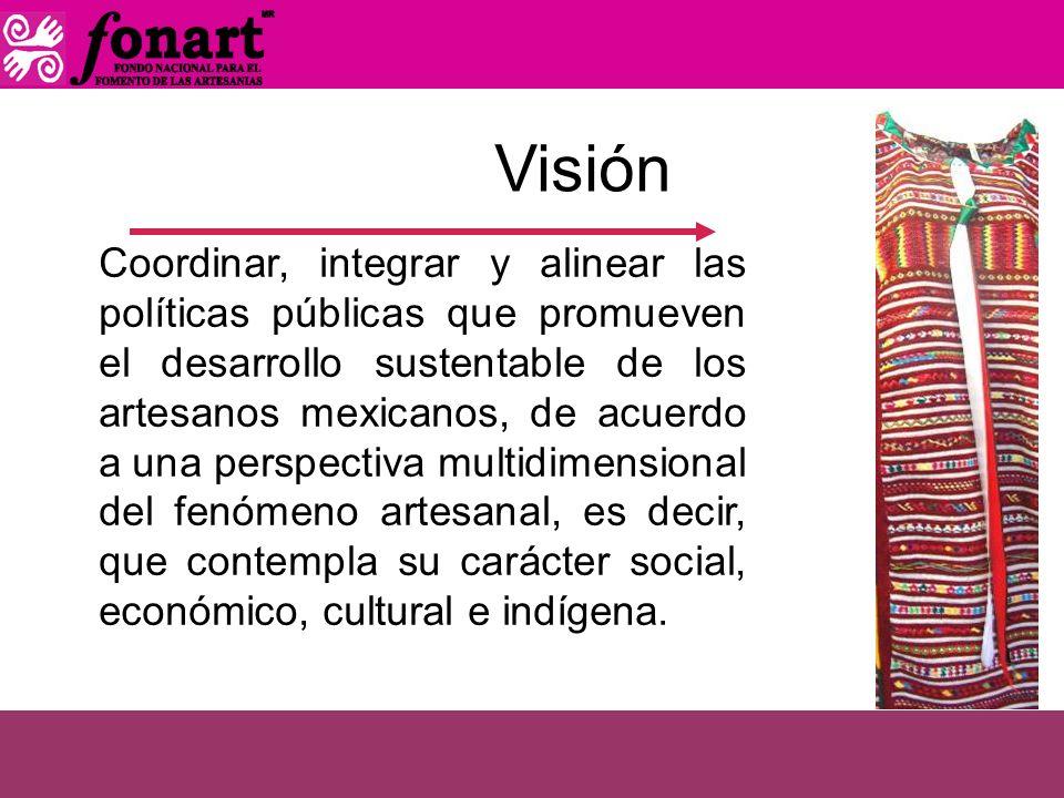 Visión Coordinar, integrar y alinear las políticas públicas que promueven el desarrollo sustentable de los artesanos mexicanos, de acuerdo a una persp