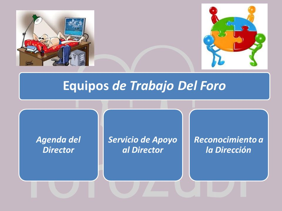 Equipos de Trabajo Del Foro Agenda del Director Servicio de Apoyo al Director Reconocimiento a la Dirección