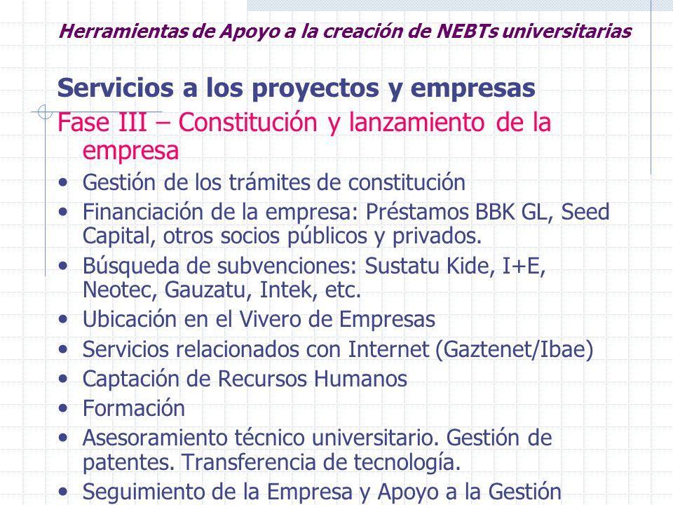 Herramientas de Apoyo a la creación de NEBTs universitarias Servicios a los proyectos y empresas Fase III – Constitución y lanzamiento de la empresa G