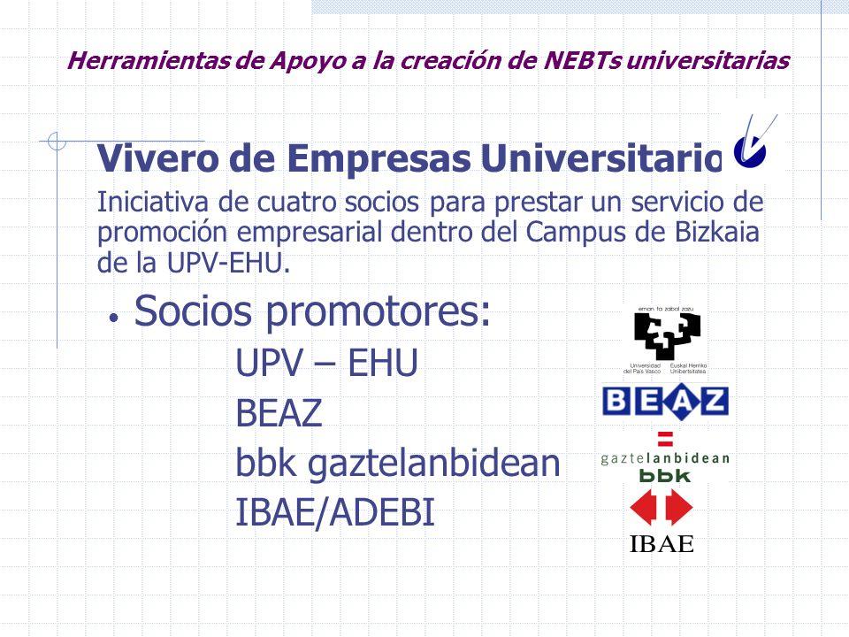 Herramientas de Apoyo a la creación de NEBTs universitarias Vivero de Empresas Universitario Iniciativa de cuatro socios para prestar un servicio de p