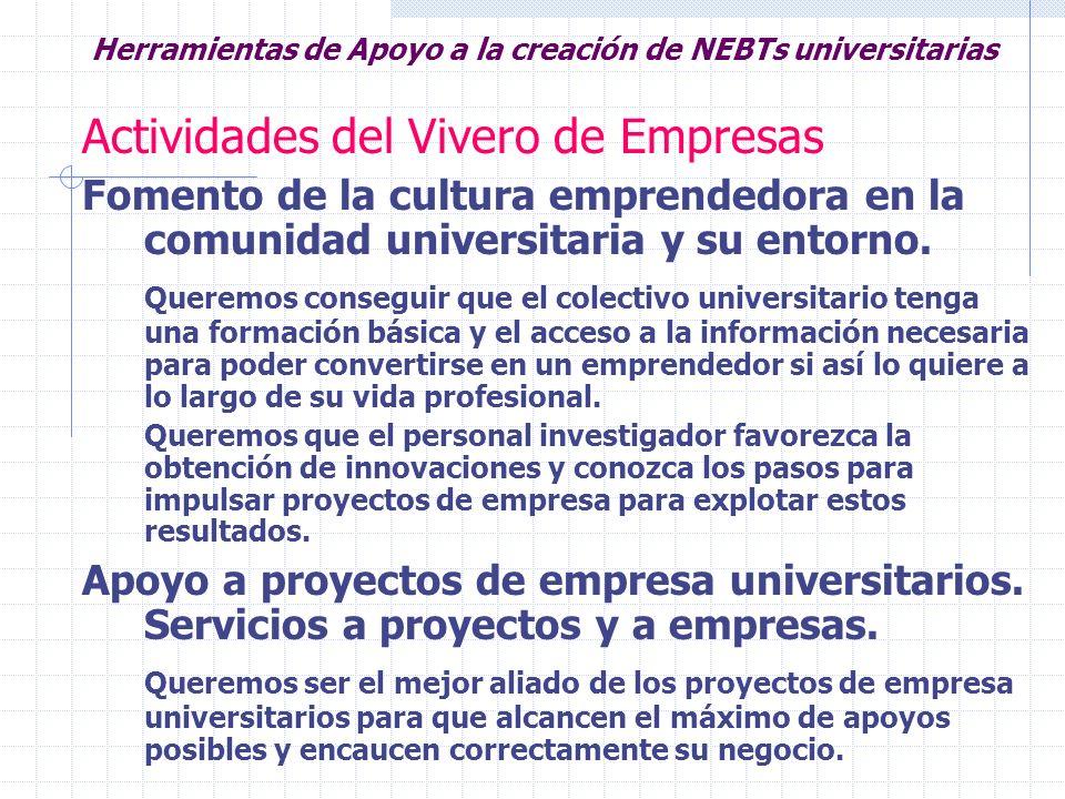 Herramientas de Apoyo a la creación de NEBTs universitarias Actividades del Vivero de Empresas Fomento de la cultura emprendedora en la comunidad univ