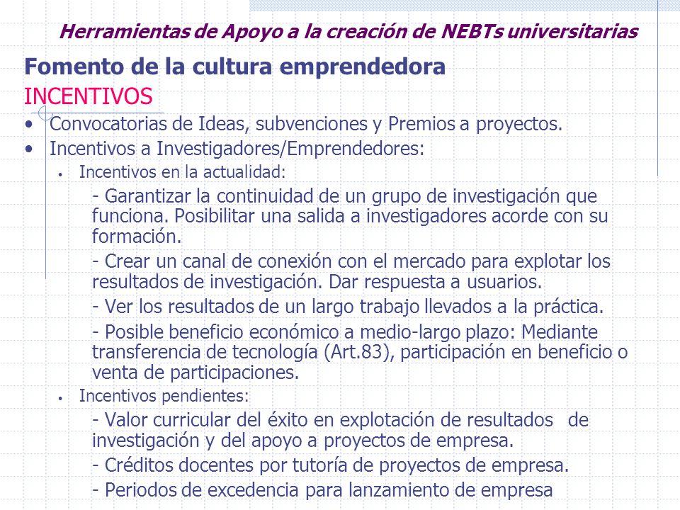 Herramientas de Apoyo a la creación de NEBTs universitarias Fomento de la cultura emprendedora INCENTIVOS Incentivos a empresas: Relación estable con la Universidad Proyectos I+D conjuntos: Financiación compartida.