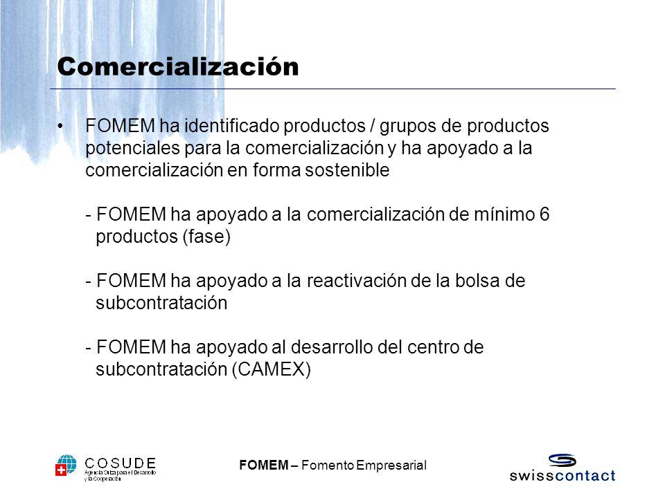 FOMEM – Fomento Empresarial Comercialización FOMEM ha identificado productos / grupos de productos potenciales para la comercialización y ha apoyado a la comercialización en forma sostenible - FOMEM ha apoyado a la comercialización de mínimo 6 productos (fase) - FOMEM ha apoyado a la reactivación de la bolsa de subcontratación - FOMEM ha apoyado al desarrollo del centro de subcontratación (CAMEX)