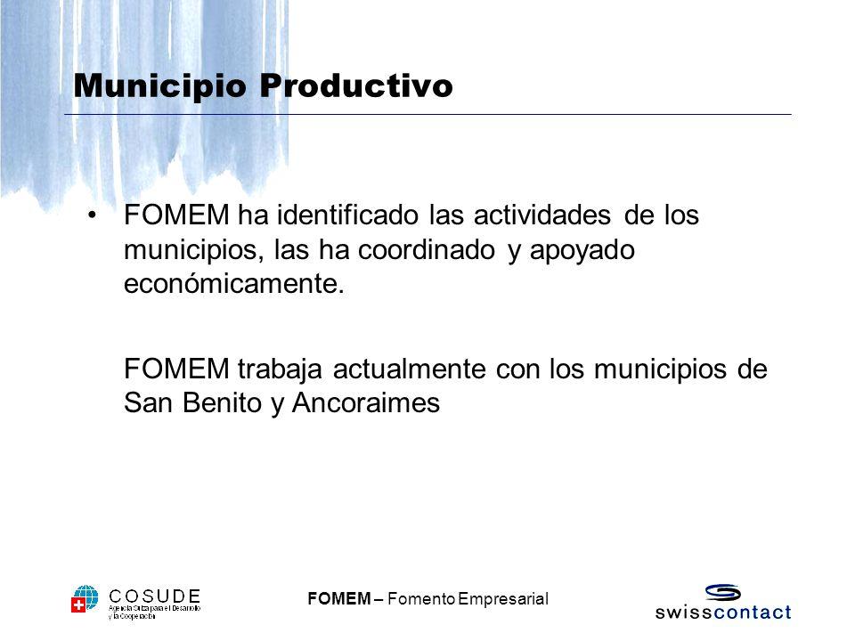 FOMEM – Fomento Empresarial Municipio Productivo FOMEM ha identificado las actividades de los municipios, las ha coordinado y apoyado económicamente.