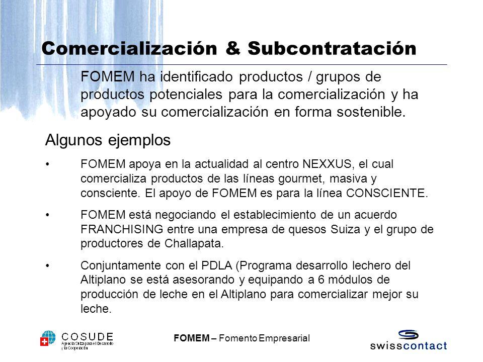FOMEM – Fomento Empresarial Comercialización & Subcontratación FOMEM ha identificado productos / grupos de productos potenciales para la comercialización y ha apoyado su comercialización en forma sostenible.