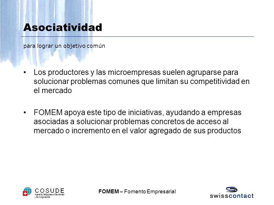 FOMEM – Fomento Empresarial Asociatividad para lograr un objetivo común Los productores y las microempresas suelen agruparse para solucionar problemas comunes que limitan su competitividad en el mercado FOMEM apoya este tipo de iniciativas, ayudando a empresas asociadas a solucionar problemas concretos de acceso al mercado o incremento en el valor agregado de sus productos