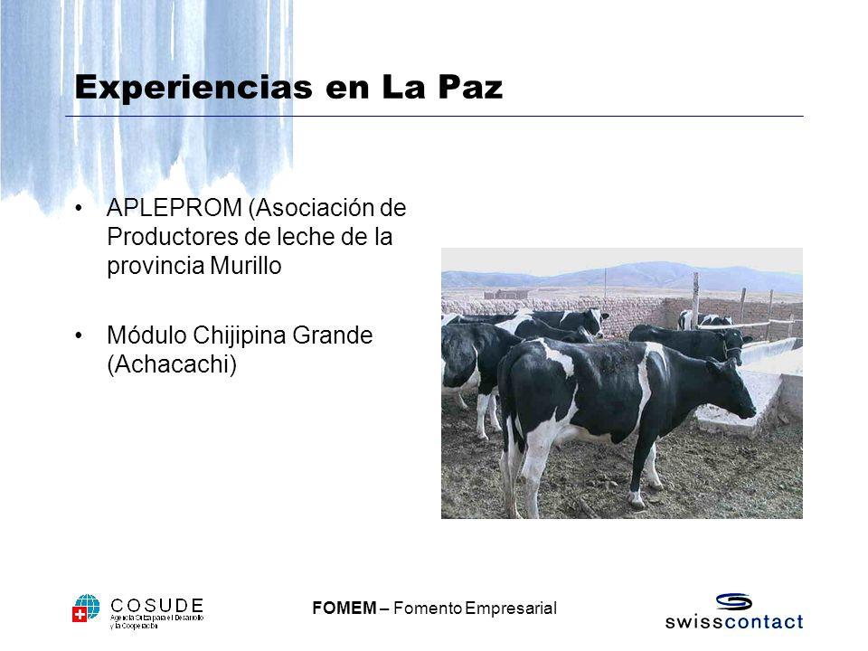 FOMEM – Fomento Empresarial Experiencias en La Paz APLEPROM (Asociación de Productores de leche de la provincia Murillo Módulo Chijipina Grande (Achacachi)