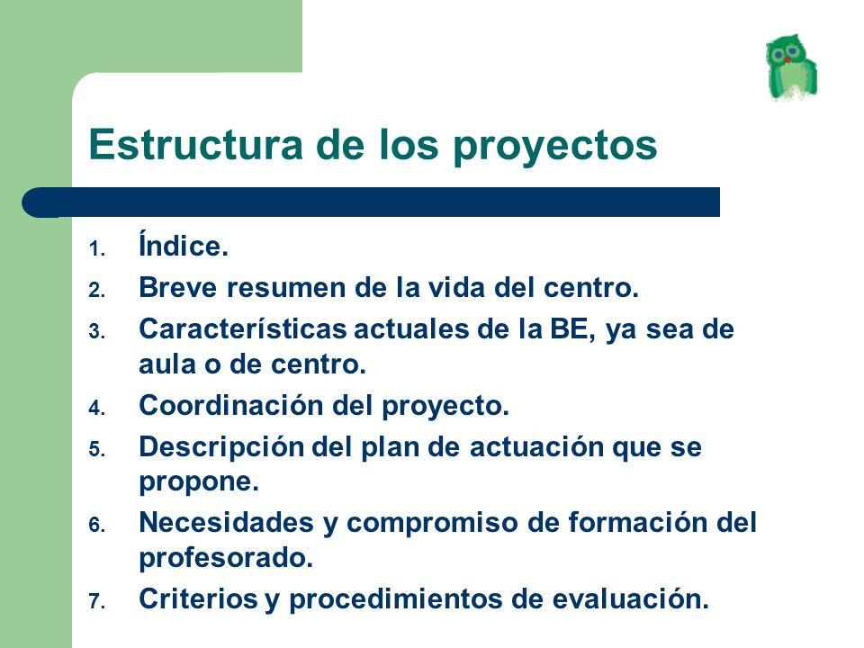 Estructura de los proyectos 1. Índice. 2. Breve resumen de la vida del centro. 3. Características actuales de la BE, ya sea de aula o de centro. 4. Co