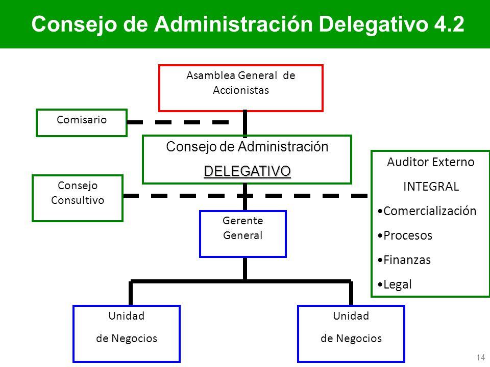Consejo de Administración Delegativo 4.2 Asamblea General de Accionistas Comisario Consejo de AdministraciónDELEGATIVO Unidad de Negocios Unidad de Ne