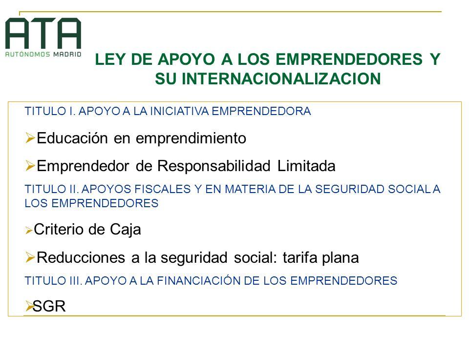 LEY DE APOYO A LOS EMPRENDEDORES Y SU INTERNACIONALIZACION TITULO I. APOYO A LA INICIATIVA EMPRENDEDORA Educación en emprendimiento Emprendedor de Res