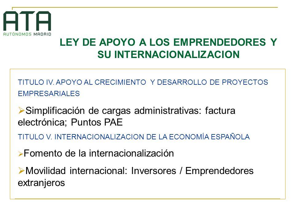 LEY DE APOYO A LOS EMPRENDEDORES Y SU INTERNACIONALIZACION TITULO IV. APOYO AL CRECIMIENTO Y DESARROLLO DE PROYECTOS EMPRESARIALES Simplificación de c