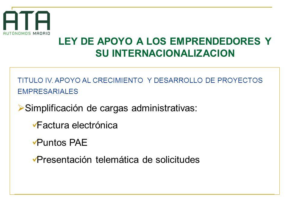 LEY DE APOYO A LOS EMPRENDEDORES Y SU INTERNACIONALIZACION TITULO IV.