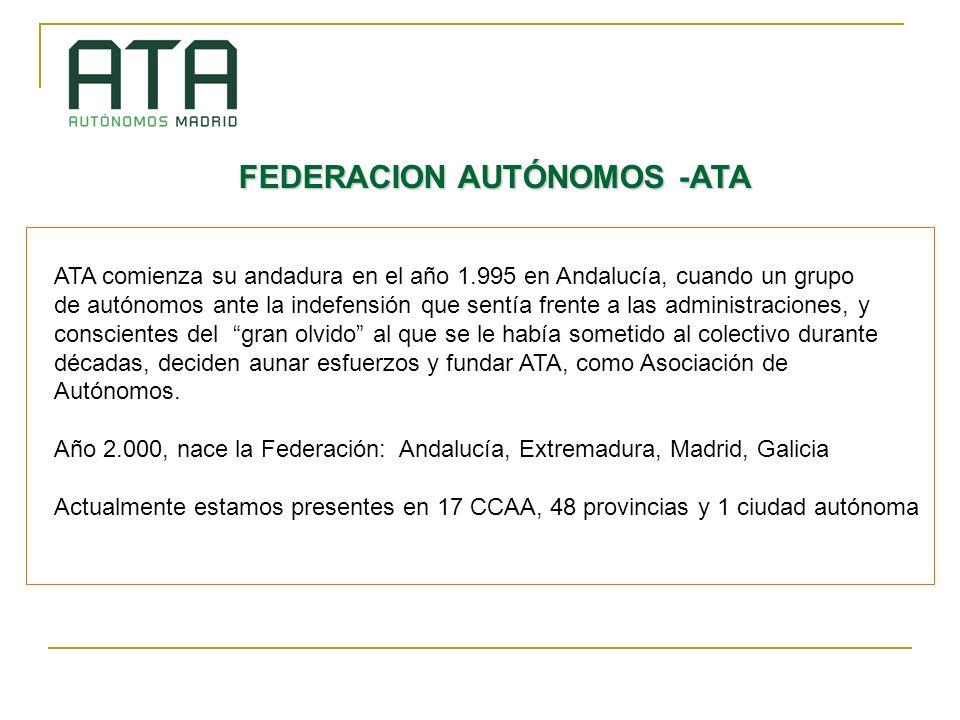 FEDERACION AUTÓNOMOS -ATA ATA comienza su andadura en el año 1.995 en Andalucía, cuando un grupo de autónomos ante la indefensión que sentía frente a