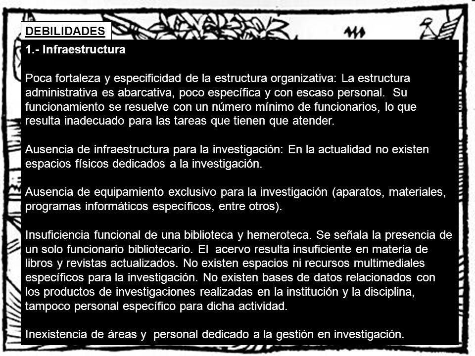 DEBILIDADES 1.- Infraestructura Poca fortaleza y especificidad de la estructura organizativa: La estructura administrativa es abarcativa, poco específ