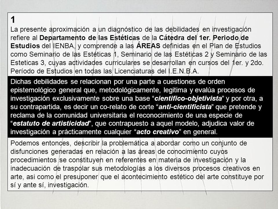 1 La presente aproximación a un diagnóstico de las debilidades en investigación refiere al Departamento de las Estéticas de la Cátedra del 1er. Period