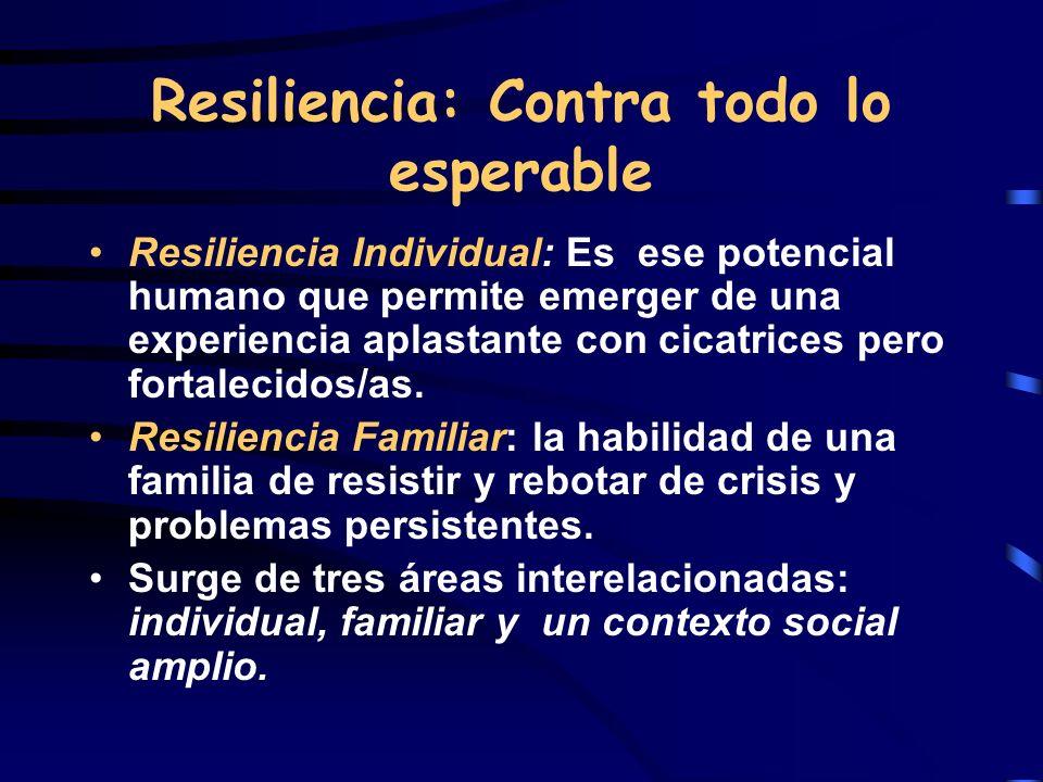 Resiliencia: Contra todo lo esperable Resiliencia Individual: Es ese potencial humano que permite emerger de una experiencia aplastante con cicatrices