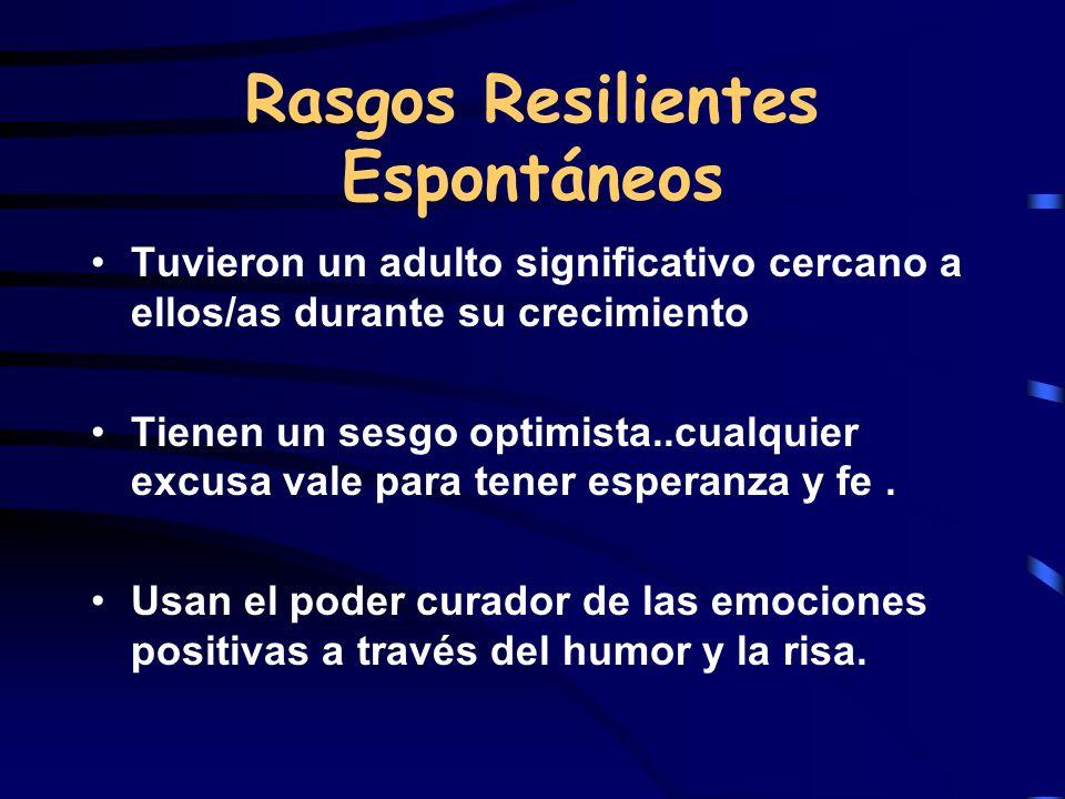 Rasgos Resilientes Espontáneos Tuvieron un adulto significativo cercano a ellos/as durante su crecimiento Tienen un sesgo optimista..cualquier excusa