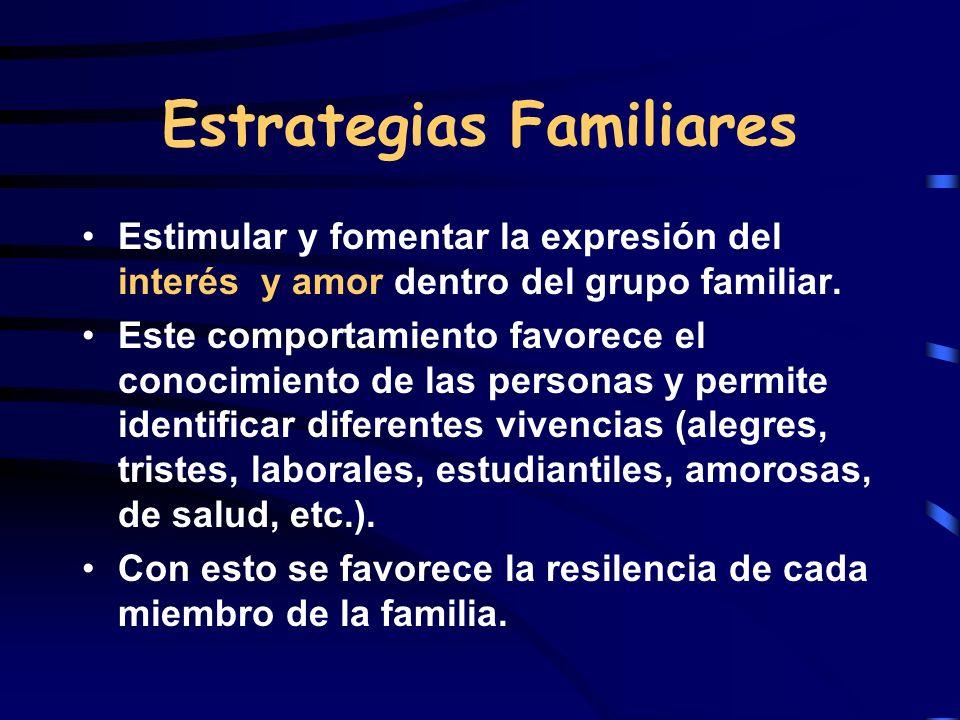Estrategias Familiares Estimular y fomentar la expresión del interés y amor dentro del grupo familiar. Este comportamiento favorece el conocimiento de