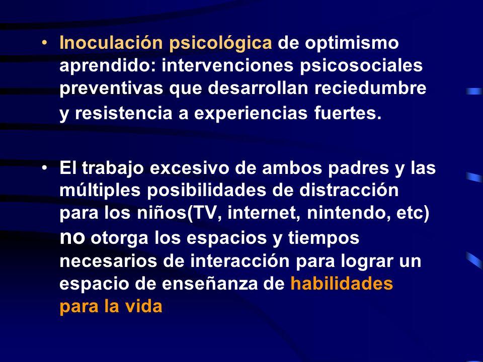 Inoculación psicológica de optimismo aprendido: intervenciones psicosociales preventivas que desarrollan reciedumbre y resistencia a experiencias fuer