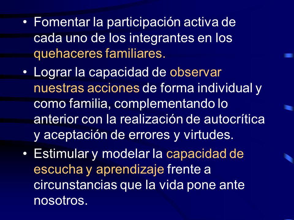 Fomentar la participación activa de cada uno de los integrantes en los quehaceres familiares. Lograr la capacidad de observar nuestras acciones de for