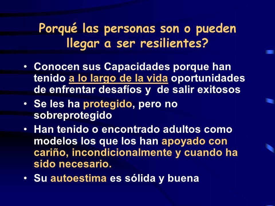 Porqué las personas son o pueden llegar a ser resilientes? Conocen sus Capacidades porque han tenido a lo largo de la vida oportunidades de enfrentar