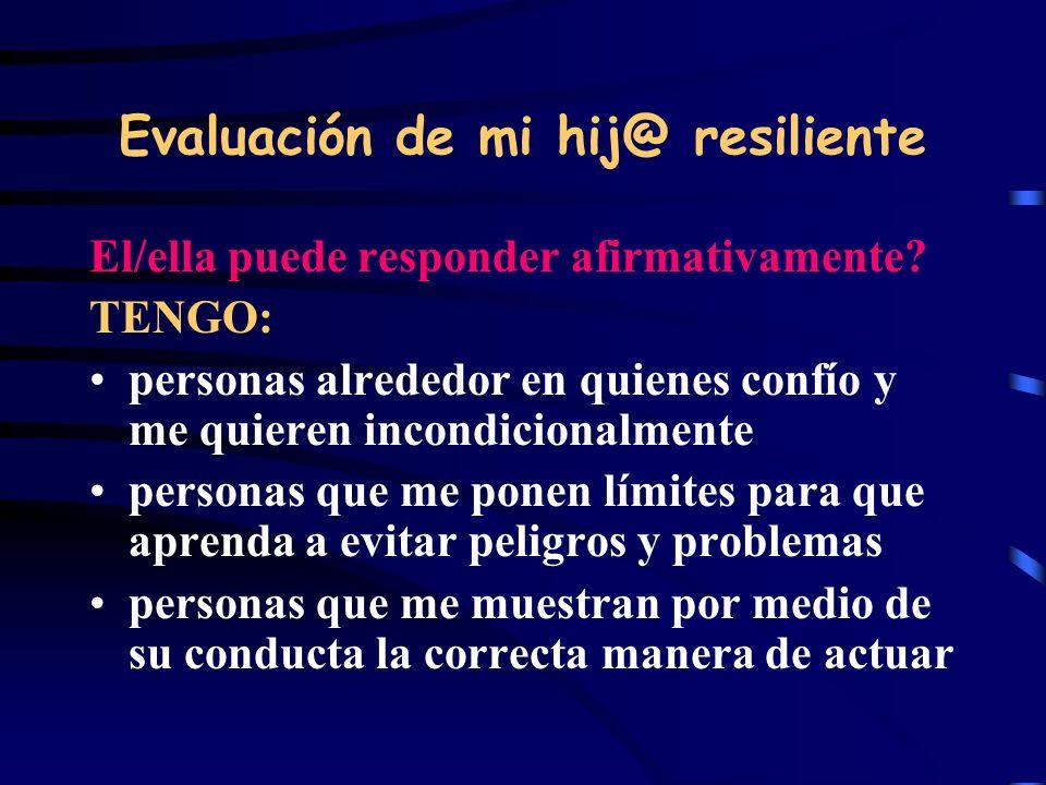 Evaluación de mi hij@ resiliente El/ella puede responder afirmativamente? TENGO: personas alrededor en quienes confío y me quieren incondicionalmente
