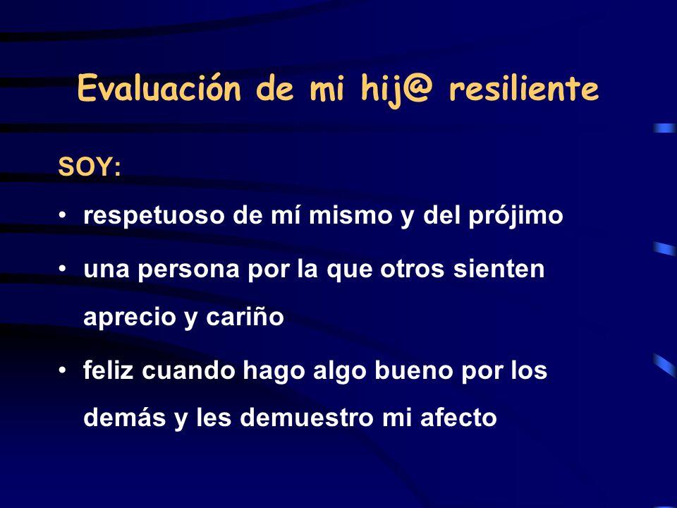 Evaluación de mi hij@ resiliente SOY: respetuoso de mí mismo y del prójimo una persona por la que otros sienten aprecio y cariño feliz cuando hago alg