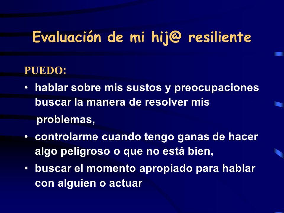 Evaluación de mi hij@ resiliente PUEDO : hablar sobre mis sustos y preocupaciones buscar la manera de resolver mis problemas, controlarme cuando tengo