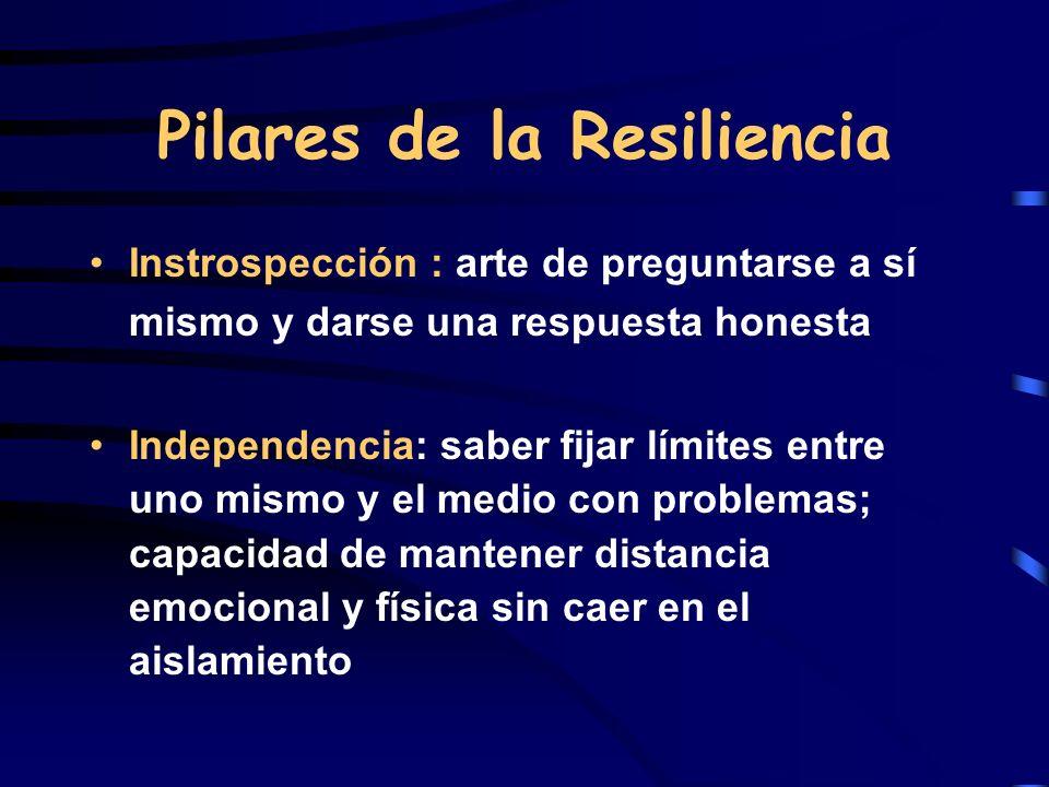 Pilares de la Resiliencia Instrospección : arte de preguntarse a sí mismo y darse una respuesta honesta Independencia: saber fijar límites entre uno m