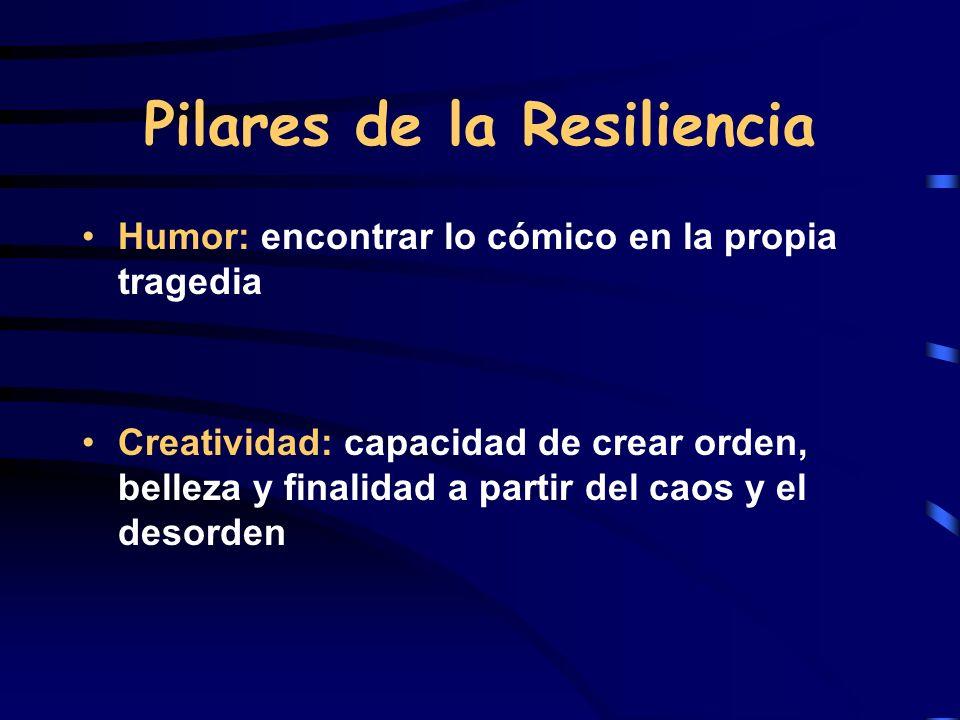 Pilares de la Resiliencia Humor: encontrar lo cómico en la propia tragedia Creatividad: capacidad de crear orden, belleza y finalidad a partir del cao