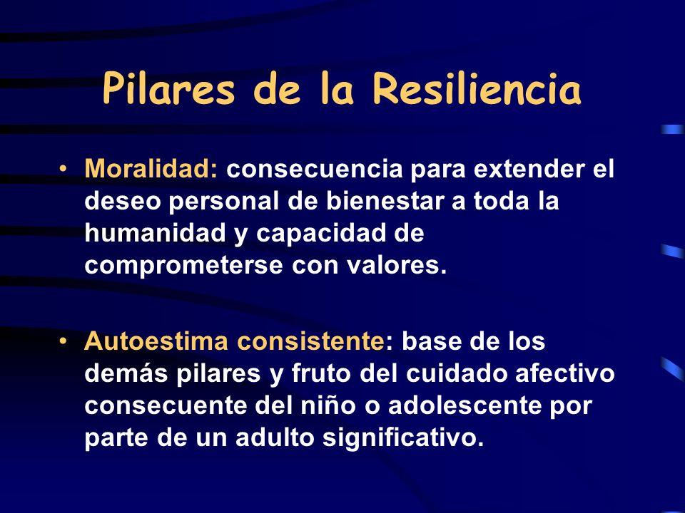 Pilares de la Resiliencia Moralidad: consecuencia para extender el deseo personal de bienestar a toda la humanidad y capacidad de comprometerse con va