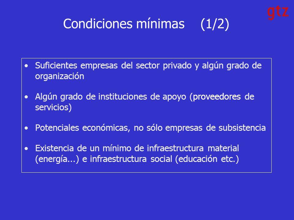 Condiciones mínimas (1/2) Suficientes empresas del sector privado y algún grado de organización Algún grado de instituciones de apoyo (proveedores de servicios) Potenciales económicas, no sólo empresas de subsistencia Existencia de un mínimo de infraestructura material (energía...) e infraestructura social (educación etc.)