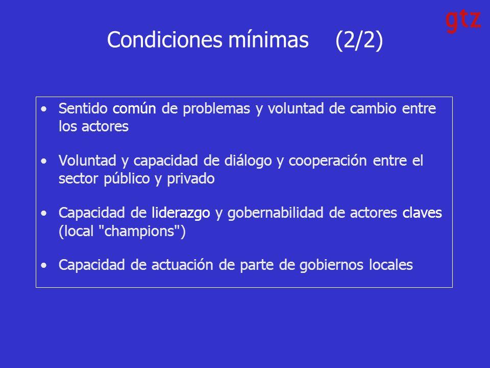 Condiciones mínimas (2/2) Sentido común de problemas y voluntad de cambio entre los actores Voluntad y capacidad de diálogo y cooperación entre el sector público y privado Capacidad de liderazgo y gobernabilidad de actores claves (local champions ) Capacidad de actuación de parte de gobiernos locales