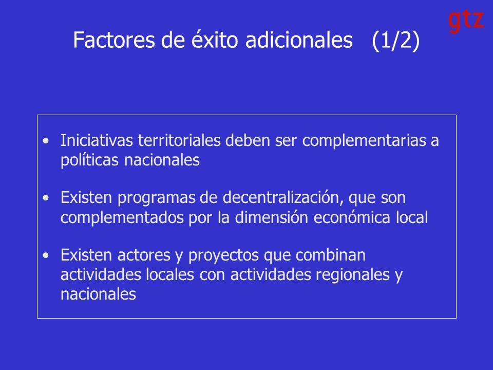 Factores de éxito adicionales (1/2) Iniciativas territoriales deben ser complementarias a políticas nacionales Existen programas de decentralización, que son complementados por la dimensión económica local Existen actores y proyectos que combinan actividades locales con actividades regionales y nacionales