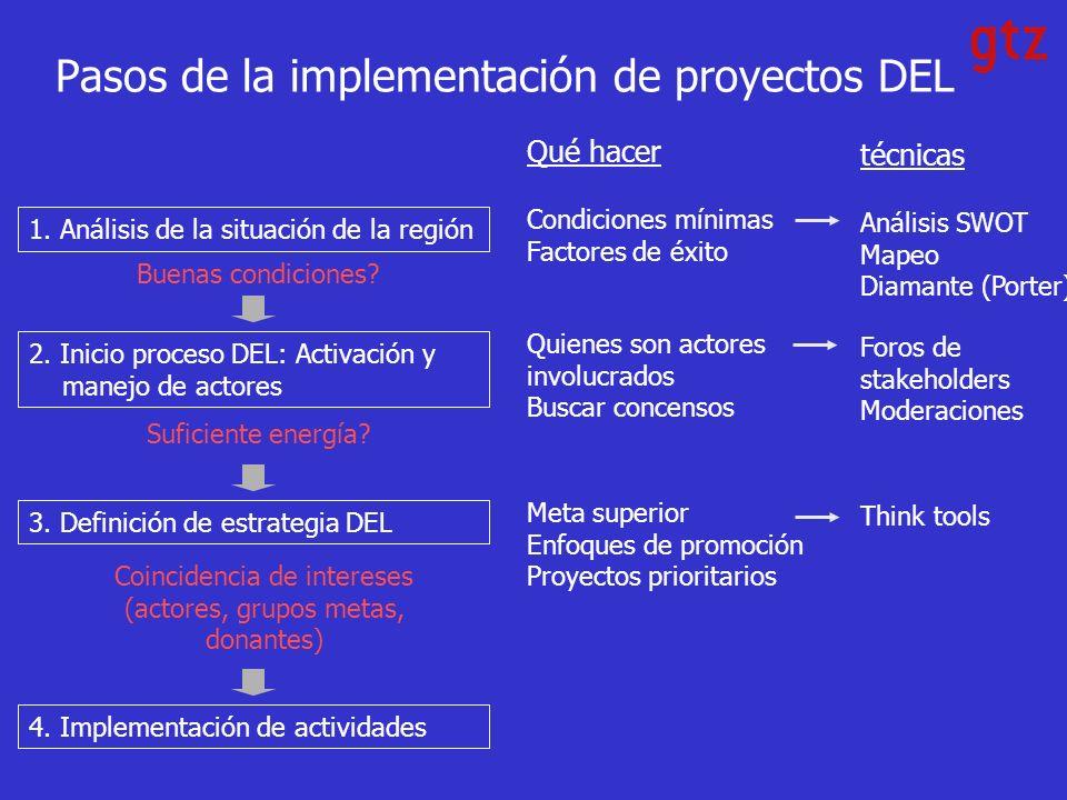Pasos de la implementación de proyectos DEL 1.Análisis de la situación de la región 2.