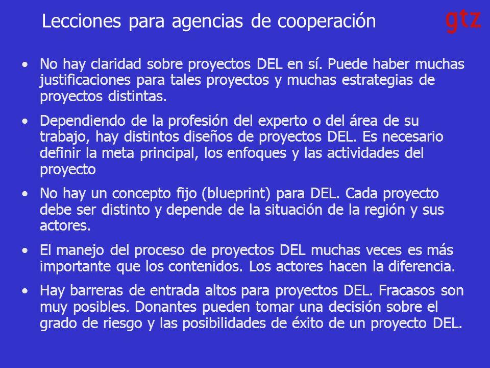 Lecciones para agencias de cooperación No hay claridad sobre proyectos DEL en sí.