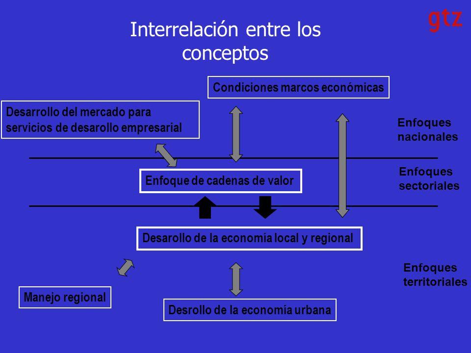 Interrelación entre los conceptos Enfoques sectoriales Enfoques territoriales Enfoques nacionales Enfoque de cadenas de valor Desarrollo del mercado para servicios de desarollo empresarial Condiciones marcos económicas Desarollo de la economía local y regional Manejo regional Desrollo de la economía urbana