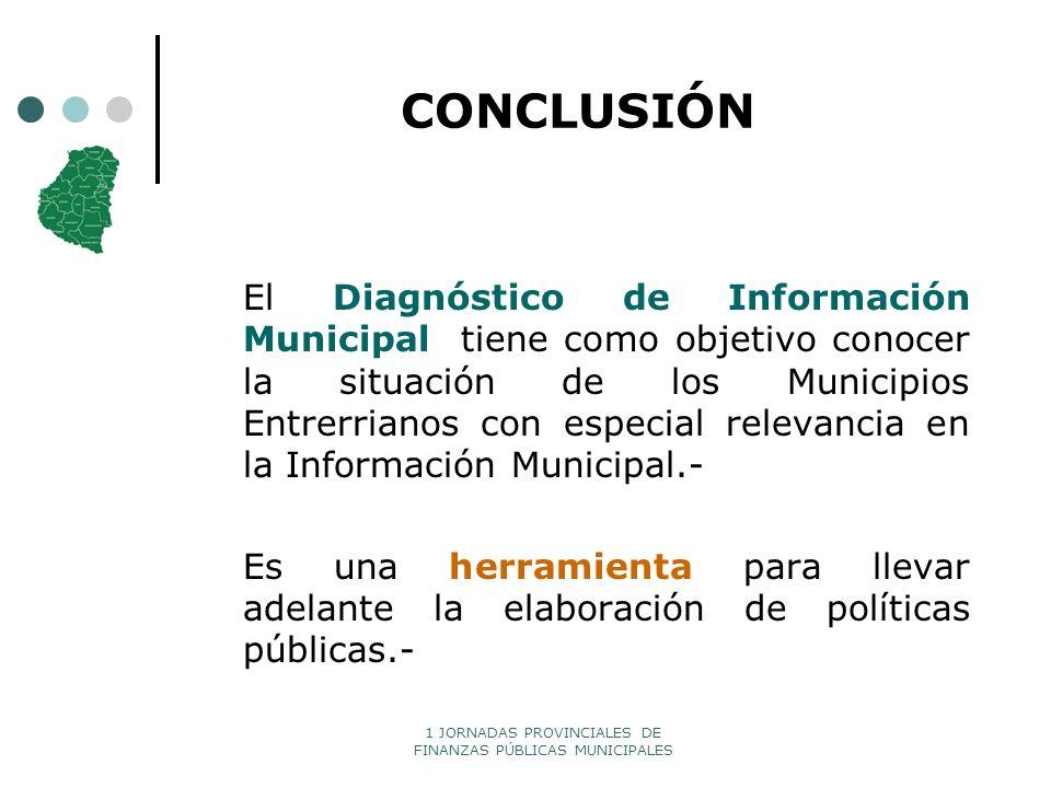 1 JORNADAS PROVINCIALES DE FINANZAS PÚBLICAS MUNICIPALES CONCLUSIÓN El Diagnóstico de Información Municipal tiene como objetivo conocer la situación d