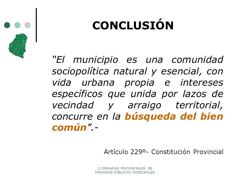 1 JORNADAS PROVINCIALES DE FINANZAS PÚBLICAS MUNICIPALES CONCLUSIÓN El municipio es una comunidad sociopolítica natural y esencial, con vida urbana pr