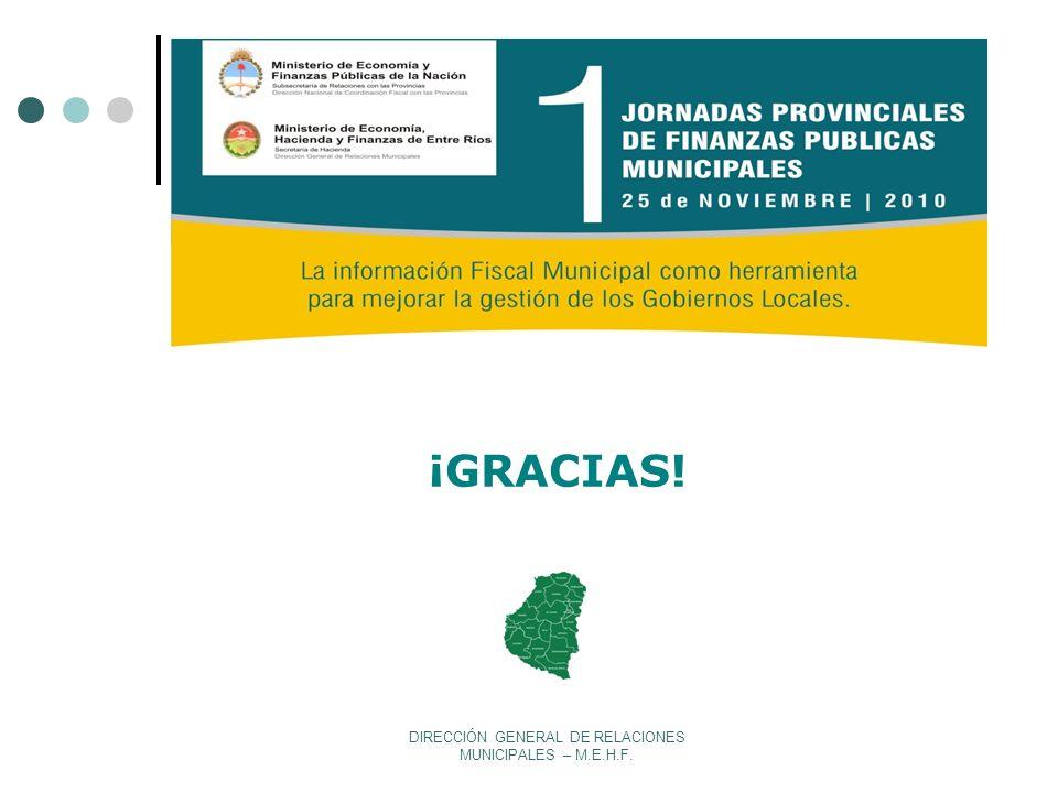 DIRECCIÓN GENERAL DE RELACIONES MUNICIPALES – M.E.H.F. ¡GRACIAS!