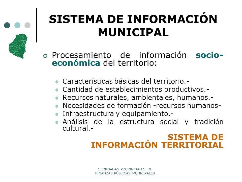 1 JORNADAS PROVINCIALES DE FINANZAS PÚBLICAS MUNICIPALES SISTEMA DE INFORMACIÓN MUNICIPAL Procesamiento de información socio- económica del territorio