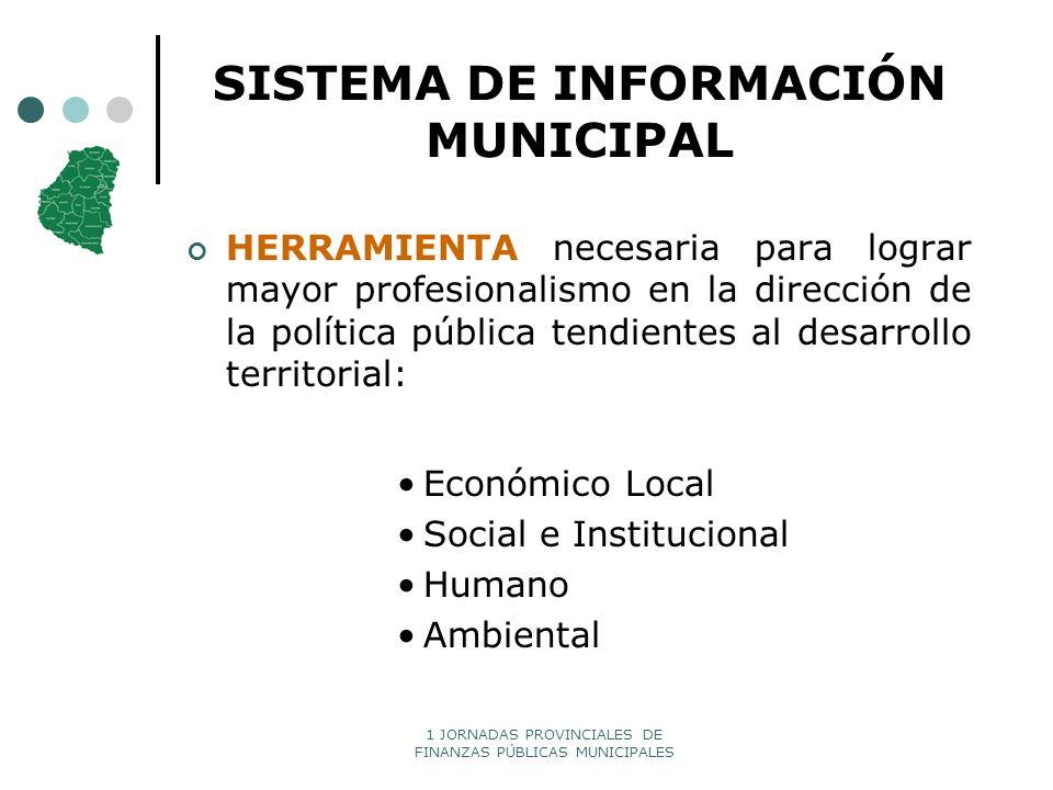 1 JORNADAS PROVINCIALES DE FINANZAS PÚBLICAS MUNICIPALES SISTEMA DE INFORMACIÓN MUNICIPAL HERRAMIENTA necesaria para lograr mayor profesionalismo en l