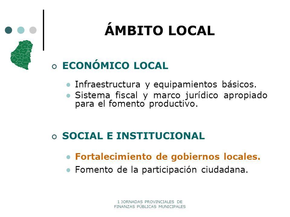 1 JORNADAS PROVINCIALES DE FINANZAS PÚBLICAS MUNICIPALES ÁMBITO LOCAL ECONÓMICO LOCAL Infraestructura y equipamientos básicos. Sistema fiscal y marco